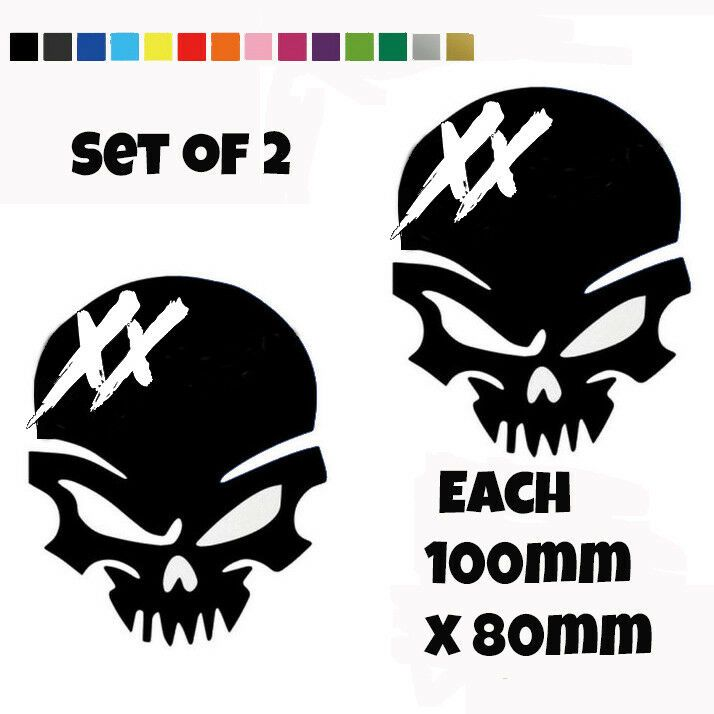 2 x Honda CBR Skull Decals Motorbike Car Stickers Belly Pan Fairings Panniers