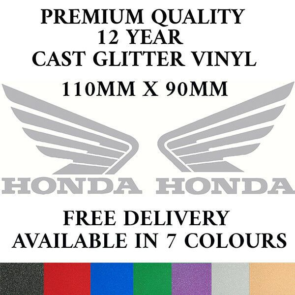 2x HONDA Wings Motorbike Cast Glitter Vinyl Decals Fairings Tank 12 yr 7 Colours