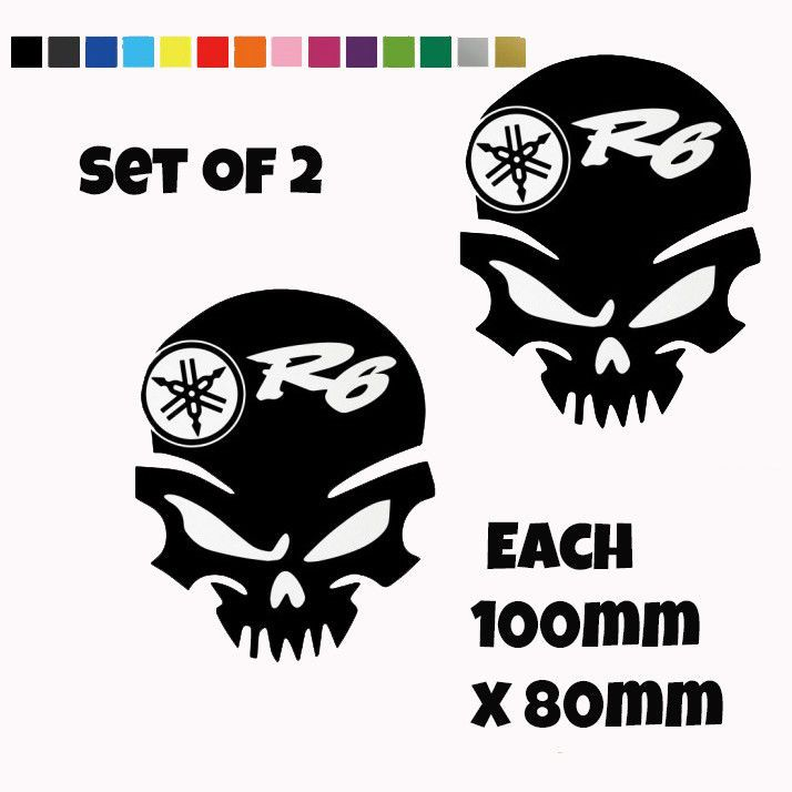 2x Yamaha R6 Skull Decals Belly Pan Fairings Panniers Helmet Motorcycle