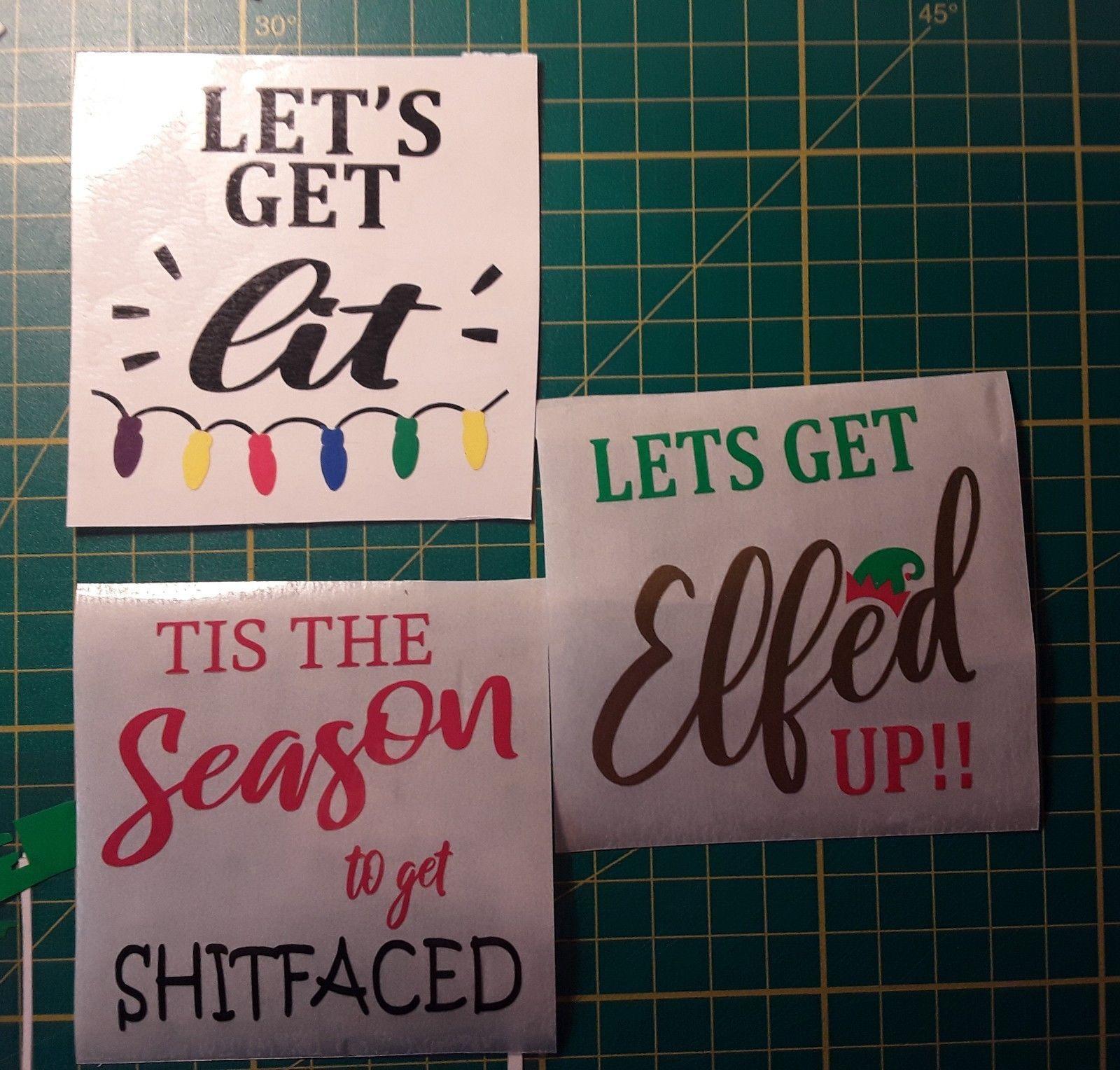 Christmas Vinyl Sticker for Wine Glass  Funny Joke Xmas DIY 3 designs