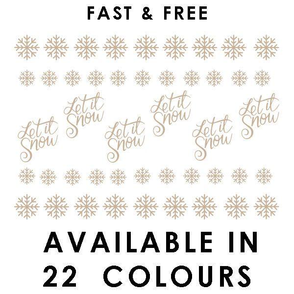 Christmas Vinyl Sticker for Wine Glass x 6 Let it Snow Xmas DIY