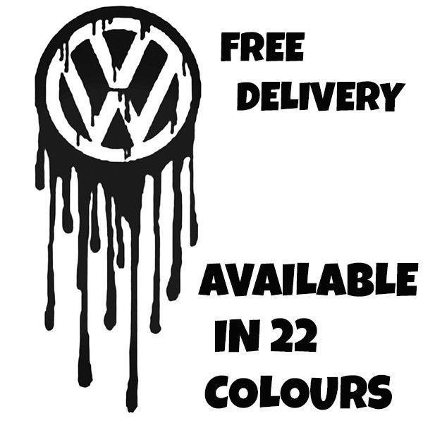 DRIPPING VW Vinyl Car Sticker VW Van Camper Hippy Decal MEDIUM 200mm x 82mm