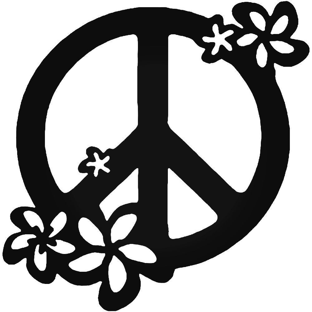 Peace Flower Car Sticker Hippy Funny Window Vinyl Decal Motorbike 22 Colours