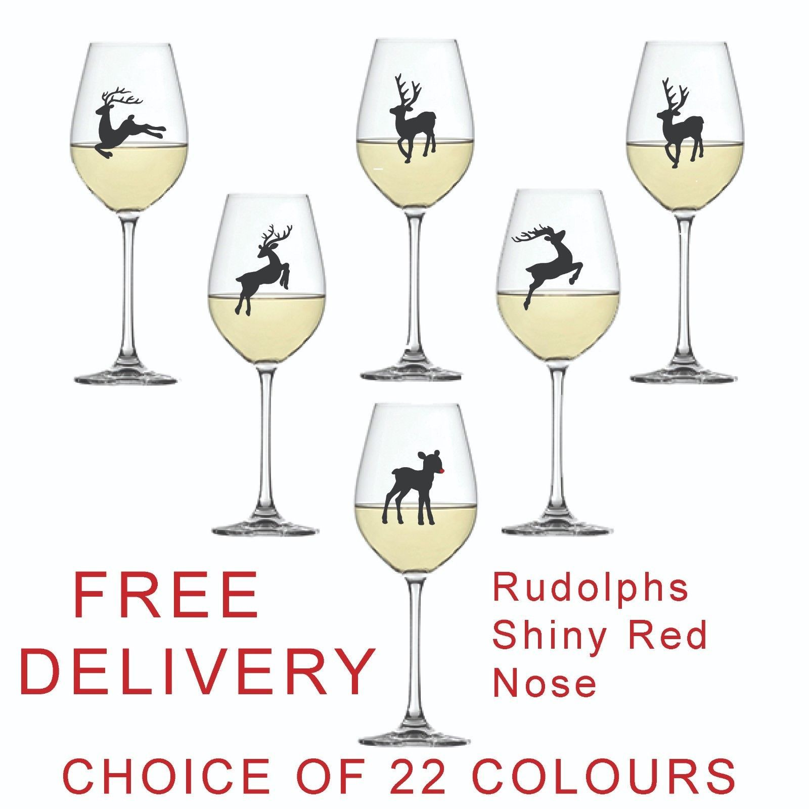 Reindeer Christmas Vinyl Sticker for Wine Glass  x 6 Baubles  DIY Any Colours