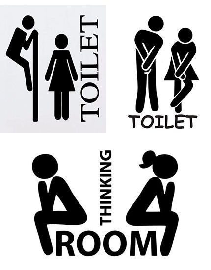 Toilet Seat Wall Sticker Decals Vinyl Removable Funny Bathroom-Decor UK SELLER